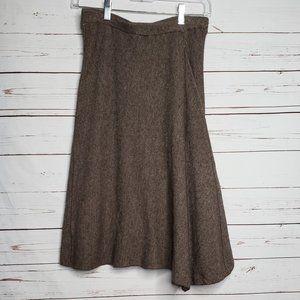 Velvet Asymmetrical Wool Blend Skirt